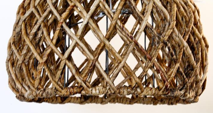 Suspension abat-jour cloche marron D 44 cm