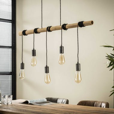 Suspension bambou 5 lampes 98 cm