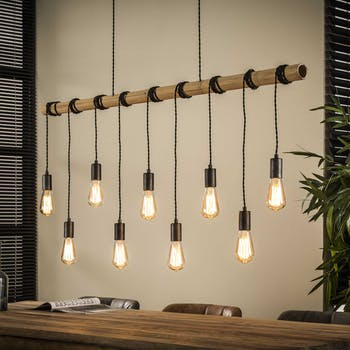 Suspension bambou 9 lampes