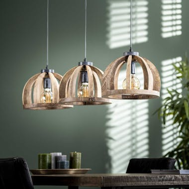 Suspension contemporaine 3 lampes ajourées bois de manguier LUCKNOW