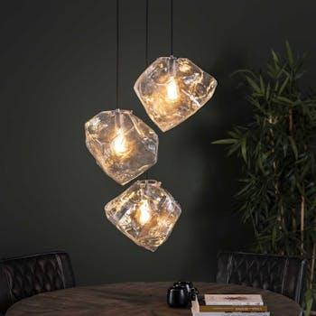 Suspension contemporaine 3 lampes effet glaçon NIAGARA