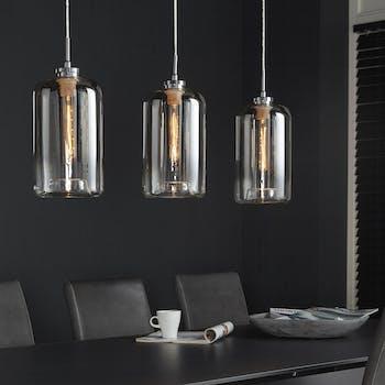 Suspension contemporaine 3 lampes verre chromé