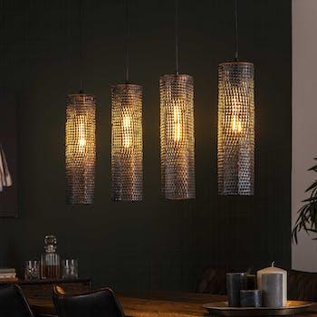 Suspension contemporaine 4 lampes tubes effet maille TRIBECA
