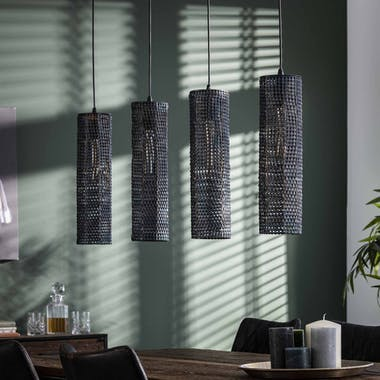 Suspension contemporaine 4 lampes tubes effet maille TRIBECA