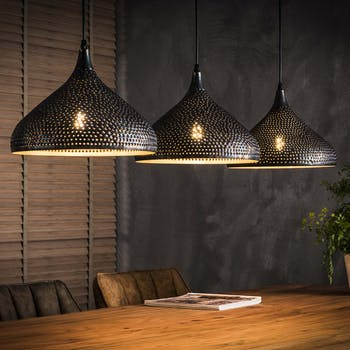 Suspension contemporaine ajourée 3 lampes forme bougie RALF