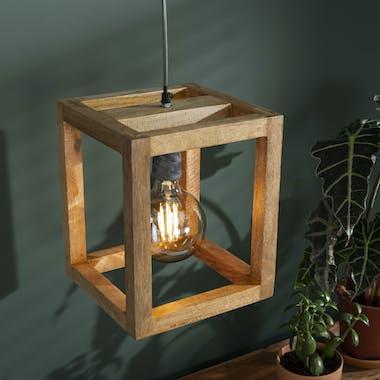 Suspension contemporaine cadre bois de manguier 1 lampe DELHI