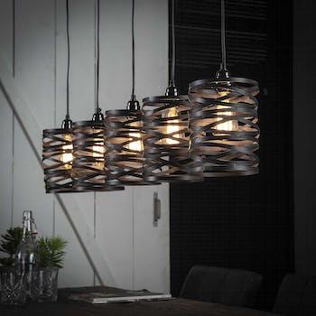 Suspension contemporaine effet ruban gris ardoise 5 lampes RALF