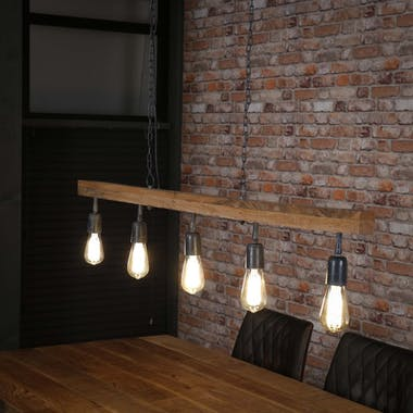 Suspension contemporaine poutre bois 5 lampes LUCKNOW