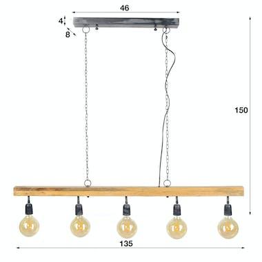Suspension contemporaine poutre bois 5 lampes LUCKNOW