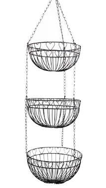 Suspension de 3 paniers métal noir déco lignes et coeurs et chaîne métallique 25x96cm