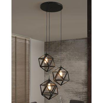 Suspension design métal noir 3 sphères géométriques 150cm TRIBECA