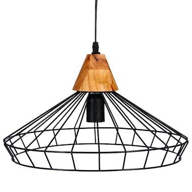 Suspension en métal fil noir forme soucoupe et base bois D38xH22cm