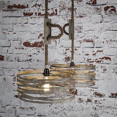 Suspension industrielle 2 lampes effet ruban et corde RALF