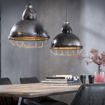 Suspension industrielle 2 lampes grillagées loft RALF