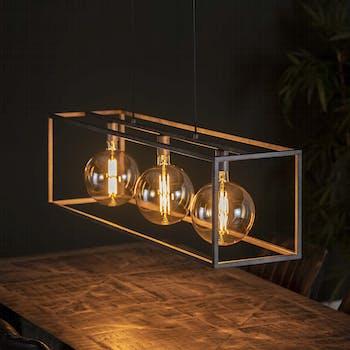 Suspension industrielle 3 lampes cadre rectangulaire argent vieilli RALF