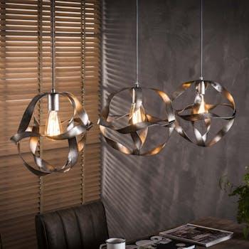 Suspension industrielle 3 lampes métal vieilli effet ruban RALF