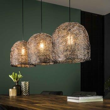 Suspension industrielle 3 lampes spaghetti cuivre vieilli TRIBECA