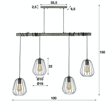 Suspension industrielle 4 lampes LAMPHUN