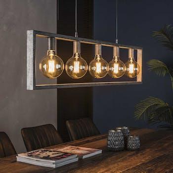 Suspension industrielle 5 lampes arceau argent vieilli TRIBECA