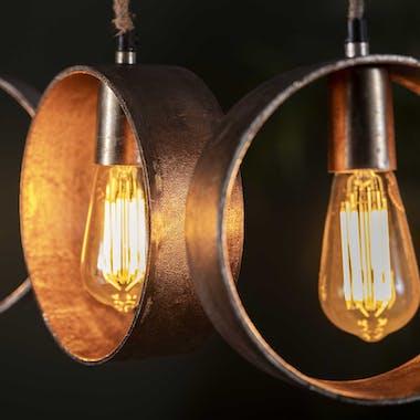Suspension industrielle 5 lampes bandeaux effet métal vieilli LUCKNOW