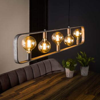 Suspension industrielle 5 lampes encadrées RALF