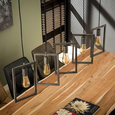 Suspension industrielle 5 lampes graphiques argent vieilli RALF