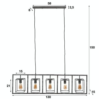 Suspension industrielle 5 lampions métal vieilli RALF