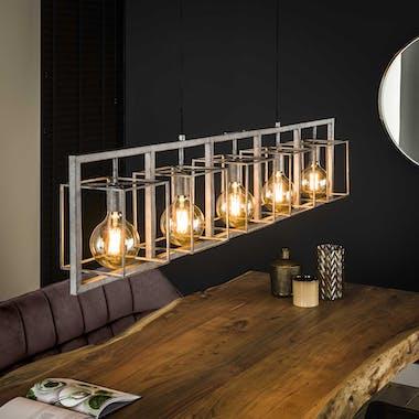 Suspension industrielle 5 lampions XL métal vieilli TRIBECA
