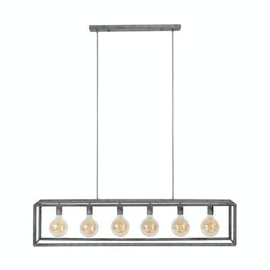 Suspension industrielle 6 lampes cadre argent vieilli RALF