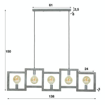 Suspension industrielle cadre 5 lampes graphiques RALF