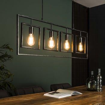 Suspension industrielle cadres 4 lampes RALF