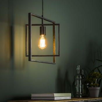Suspension industrielle cadres croisés 1 lampe RALF