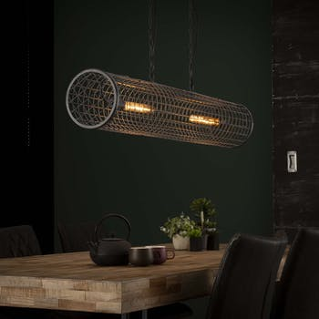 Suspension industrielle cylindre grillagé 2 lampes RALF