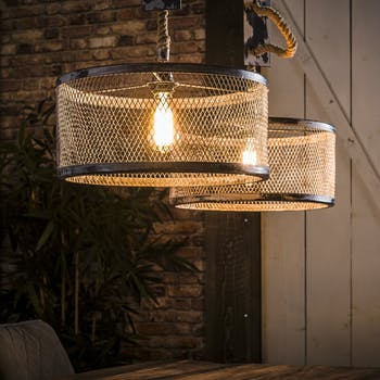 Suspension industrielle effet maille 2 lampes rondes TRIBECA