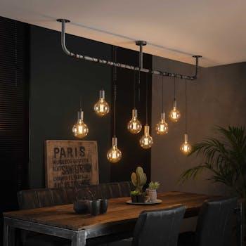 Suspension industrielle esprit loft 8 lampes réglables RALF