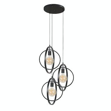 Suspension industrielle étagée 3 lampes anneaux croisés TRIBECA