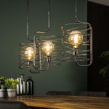 Suspension industrielle forme ressort 3 lampes RALF