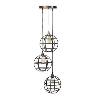 Suspension industrielle grappe 3 globes grillagés TRIBECA