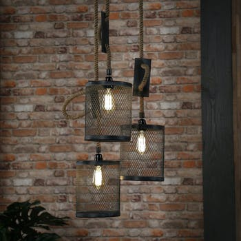 Suspension industrielle grappe effet maille 3 lampes TRIBECA