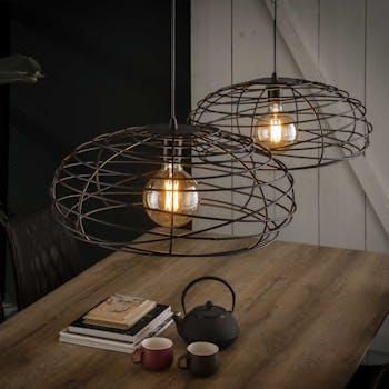 Suspension industrielle ovale métal noir 2 lampes RALF