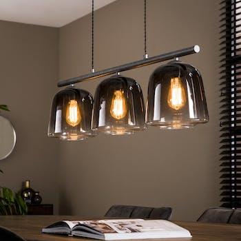 Suspension industrielle verre et métal 3 lampes RALF
