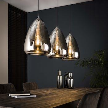 Suspension moderne 3 lampes verre chromé RALF