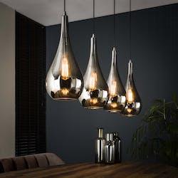 Suspension moderne 4 lampes gouttes verre chromé RALF