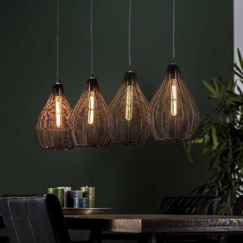 Suspension moderne 4 lampes noires forme poire RALF