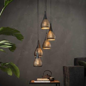 Suspension moderne goutte 5 lampes ajourées RALF