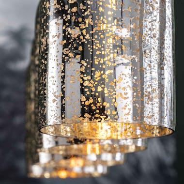 Suspension moderne verre soufflé argent or 4 lampes NIAGARA