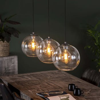 Suspension verre 3 lampes rondes transparentes RALF