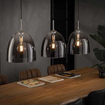 Suspension verre chromé moderne 3 lampes RALF