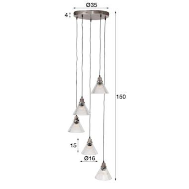 Suspension vintage 5 lampes verre étagées NIAGARA