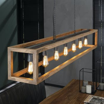 Suspension vintage 7 lampes caisson manguier RALF